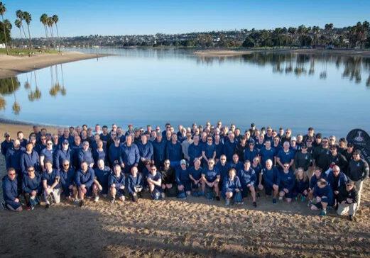 Corporate leadership training program by a lake